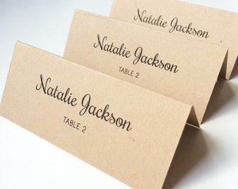 Kraft Place Card | Rustic Wedding Place Card | Wedding Place Card | Printed Place Card