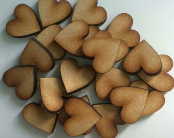 50x 20mm mdf hearts. Hand painted any colours or left plain.
