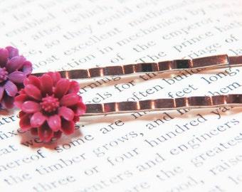 Flower Bobby Pins - Flower Hair Pins - Flower Hair Clips - Pink Bobby Pins - Purple Bobby Pins - Bobby Pins - Hair Accessories