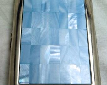 Colibri Blue & White Mother-of-Pearl Cigarette Case