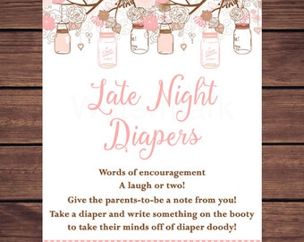 Pink Floral Mason Jars Diaper Thoughts Sign Printable, Mason Jar Late Night Diapers Sign Printable, Wee Hours JPEG  Printable233