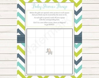 Elephant Baby Shower Bingo Cards, Elephant Chevron Bingo Card, Instant Download PDF Printable