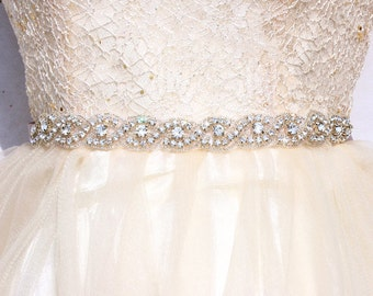 All around bridal belt  Wedding sashes and belts Wedding dress belt Thin bridesmaid belt beaded bridal belt thin Rhinestone bridal sash