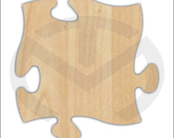 Unfinished Wood Puzzle Piece Laser Cutout, Home Decor, Connecting Pieces for Wall Display, Autism Awareness