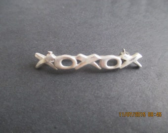 XOXO Hugs and Kisses Pin..STERLING SILVER..New..