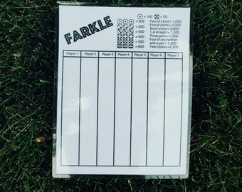 8.5x11 Reusable laminated Farkle score card - 8.5x11 -score sheet - scorecard