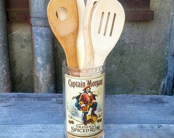Upcycled Kitchen Decor Glass Utensil Holder - Croak from Recycled Captain Morgan Rum Liquor Bottle