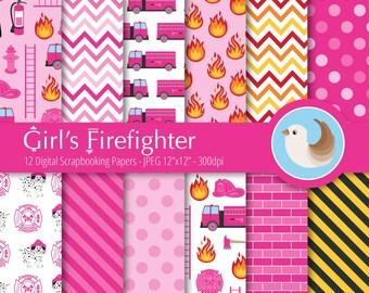 Firefighter Digital Paper - Fireman Paper - Firetruck - Fire House - Set of 12 Digital Scrapbooking Papers