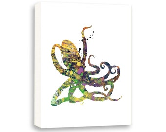 Multicolor Octopus, Bathroom Ideas, Nautical Wall Art, Limited Edition Gallery Wrapped Canvas - NS10001C