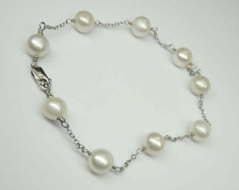 Outstanding Vintage 14K White Gold Cultured Pearl Bracelet 7in