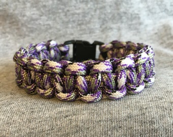 Multi Colored Purple, Gray, Black and White Paracord Bracelet