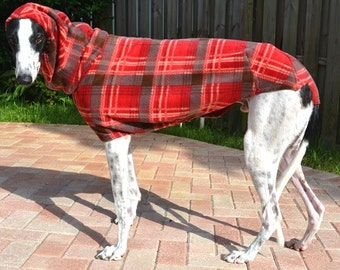 "Greyhound Coat - ""Red Chili Plaid Cocoon Coat"""