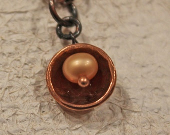 Pearl Necklace Copper Domed and Freshwater Pearl Necklace