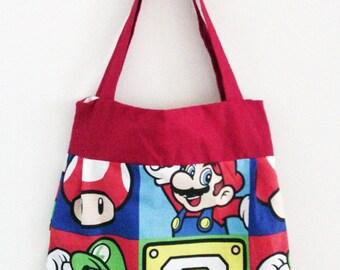 Super Mario Bros Red Tote Handbag Bag