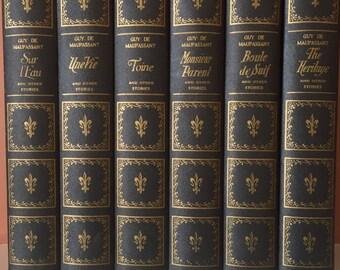 Guy de Maupassant , 1922 , set of 6 books ,  Navy Books , Standard Classics , Toine , Boule de Suif , The Heritage , Une Vie , Sur L Eau