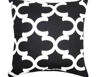 black pillow cover moroccan tile pillow cover fynn black accent pillow black quatrefoil