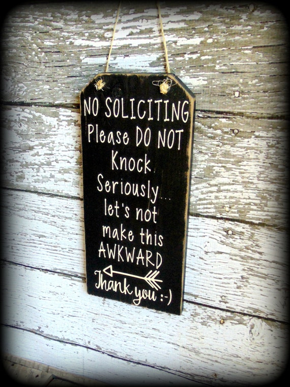 Custom Front Door Sign No Soliciting Sign Funny Wood Sign