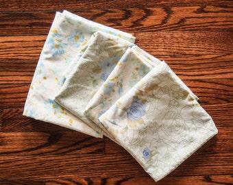 Set of FOUR Vintage Blue Pillowcases