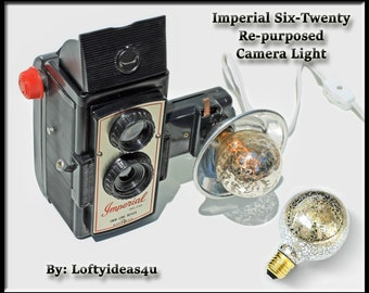 Steampunk Upcycled Vintage Imperial Deluxe Six Twenty Twin Lens Reflex Silver Mercury Bulb Re-purposed Camera Lamp Light by Loftyideas4u