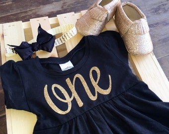 First birthday outfit - first birthday dress - gold and black birthday outfit