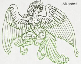 Alkonost Cushion Cover Embroidered Pillow god goddess Russian mythology