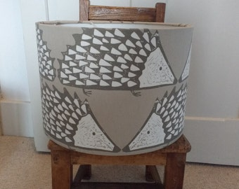 New! 30cm Drum Lampshade made from gorgeous Scion Spike Mink Hedgehog Cotton Fabric.