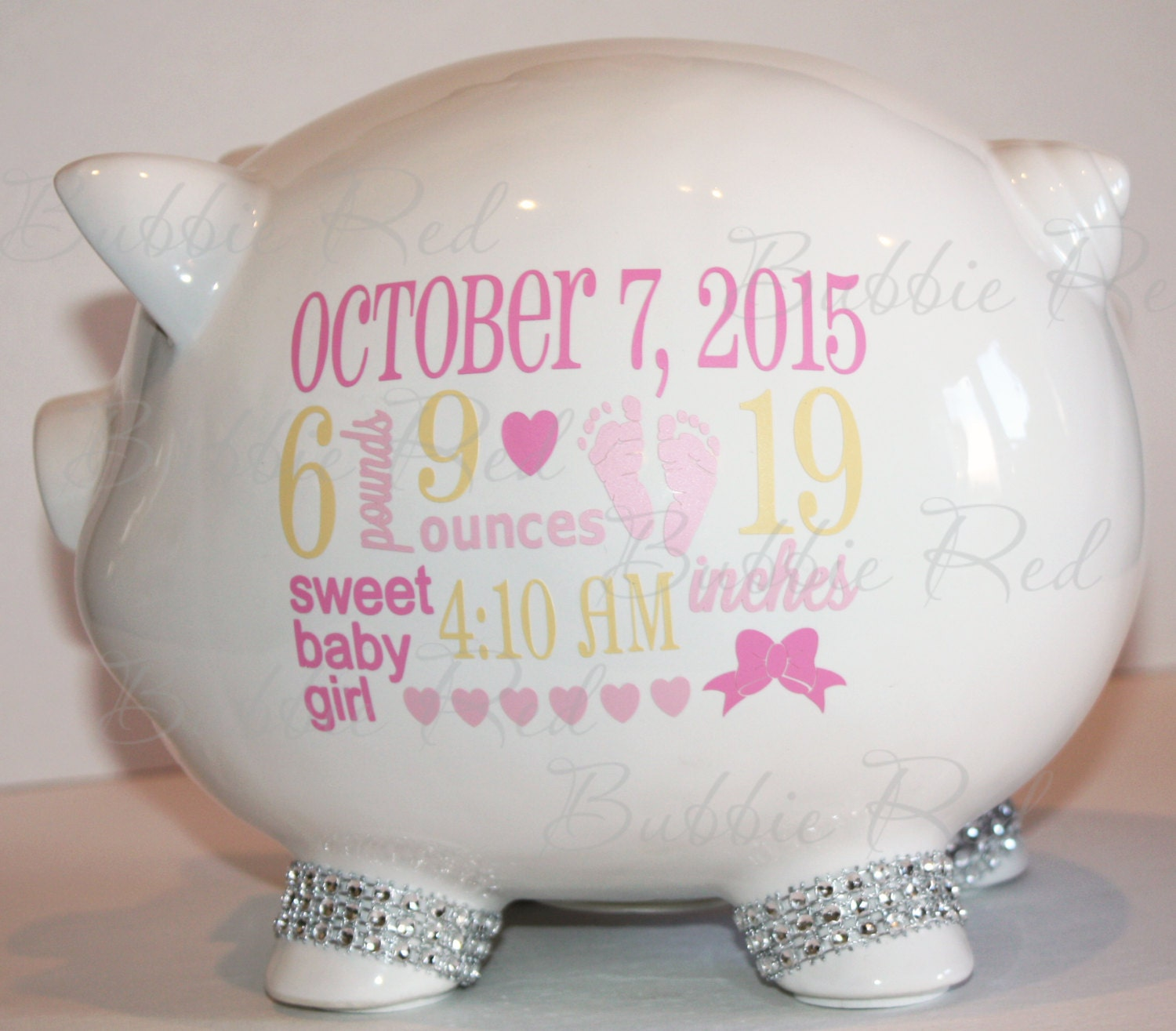 personalized piggy bank baby birth stats gift baby girl