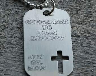 Godfather Dog Tag with Cross Personalized Engraved Necklace
