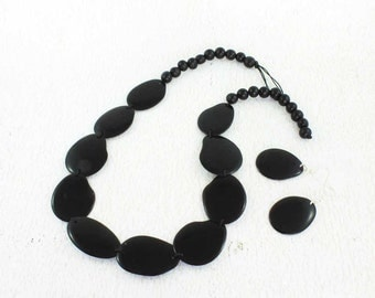 Black Statement Necklace and Earring Set - Vegetable Ivory - Tagua Nut - Black Chunky Necklace - Presents for Women - Eco Gift 1361
