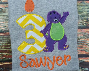 Custom Embroidered Barney Birthday Shirt