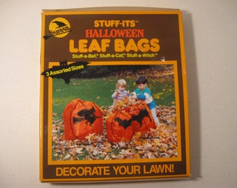 Vintage Sunhill Stuff-Its Halloween Leaf Bags New Sealed Box Cat Bat Witch