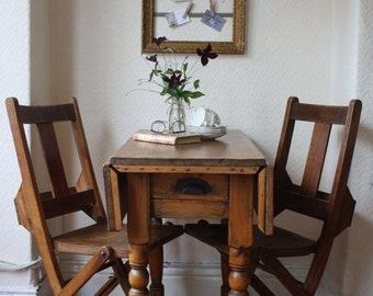 Vintage Pine Drop Leaf Table with Turned Legs and Single Drawer