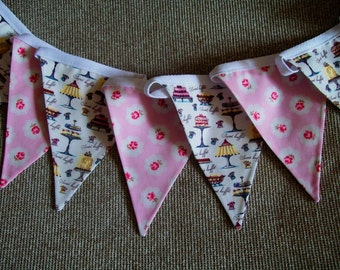 Beautiful Cotton Double Sided Bunting - French Cafe/Patisserie Vintage Style - Pink, Blue, Green Cakes