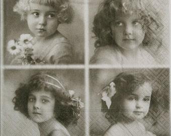 Paper Napkins for Decoupage, Victorian girl, Edwardian,  set of 3 paper napkins, 33x33 cm (no.91)
