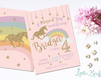 Magical Rainbow Unicorn Birthday Invitation - Printable or Printed Cards