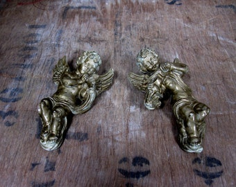 Items Similar To Gold Cherub Candy Dish Shell Cornucopia