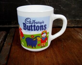 Cadburys Buttons Mug - Cadburys Mug - Vintage Cadburys - Chocolate Buttons - Easter Mug - Vintage Mug - Arcopal Mug - 1970s Mug