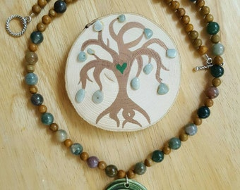 Celtic Labyrinth pendant on wood lace stone and Indian agate beaded necklace