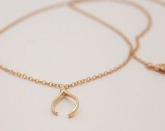 Lucky Charm Necklace Wishbone /14K Gold filled chain necklace with wishbone charm