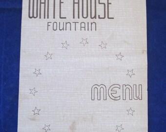 Vintage White House Fountain Menu - White House Dry Goods Co.