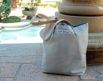 Reversible Beach Tote Bag - Grey and Ocean Wave Turquoise