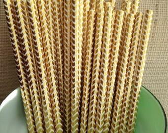 Gold Foil Paper Straws- Shiny Gold Foil Straws- Metallic Gold Straws