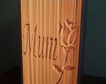 Mum with Rose cut and fold book folding pattern