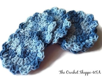 Cotton Reusable Crochet Facial Scrubbies Set of 6 Flower Shaped Shades of Blue Ready to Ship