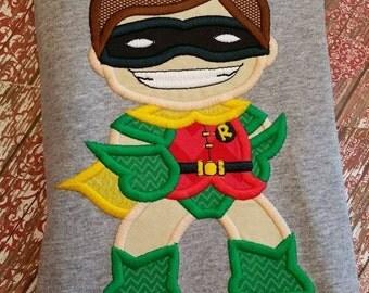 Boy Wonder Applique Design ~ Comic Book Hero ~ Masked Man Sidekick ~ Instant Download