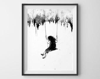 Playground, Girl Swinging, Girls Wall Art, Girl on Swing, Bedroom Decor , Surreal Art, Black and White Art, Acrylic Painting, Art Prints