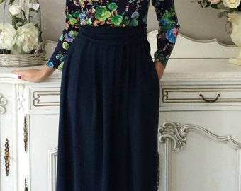 Navy Blue Women's Maxi Dress Flowers Print Long Sleeves