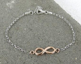 Infinity/Eternity Bracelet - Rose Gold Plated Silver
