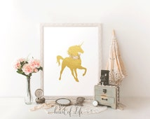 Printable art Unicorn art print Gold unicorn wall decor art print Unicorn nursery decor Be a unicorn Watercolor floral unicorn wall art deco