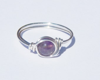 Amethyst Ring, Wire Wrapped Amethyst Ring, Wire Wrap Ring, Birthstone Ring, Wire Wrapped Amethyst, Gemstone Ring, February Birthstone Ring
